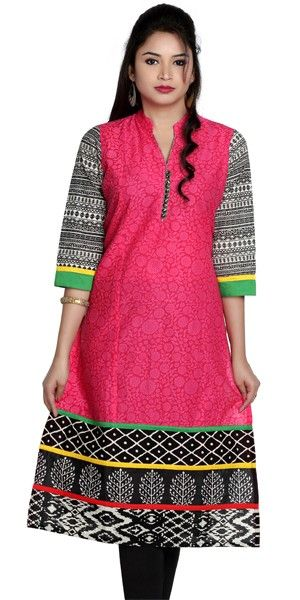 Pink And Black Stylish Cotton Casual Kurti.