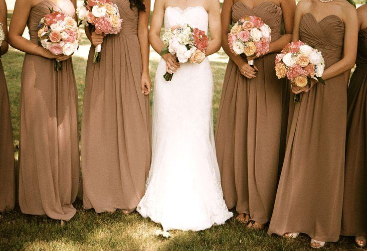 Mocha bridesmaid dresses, antique lace, pink peonies, antique brooches.