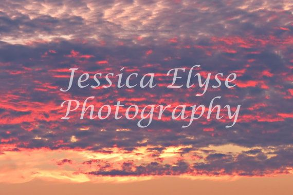vibrant orange pink and purple clouds from a by jessicaelysephotos, $30.00