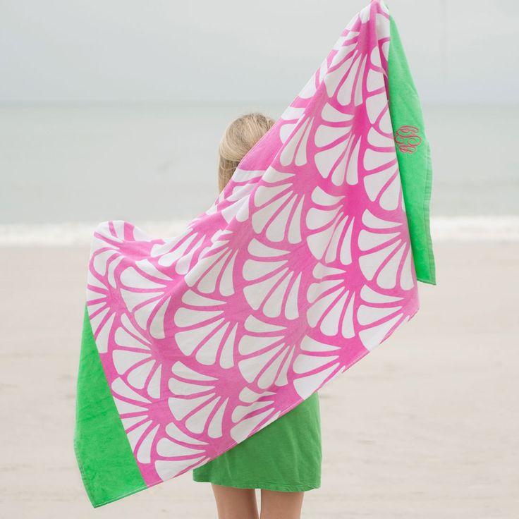 Shells Beach Towel - Monogram Beach Towel - Initial Beach Towel - Bridesmaid Gift - Monogrammed Towel - Beach Towel - Pink Towel - Gift Idea by SerenityoftheSouth on Etsy #shells #monogram #beach #towel #Summer #vacation #gift