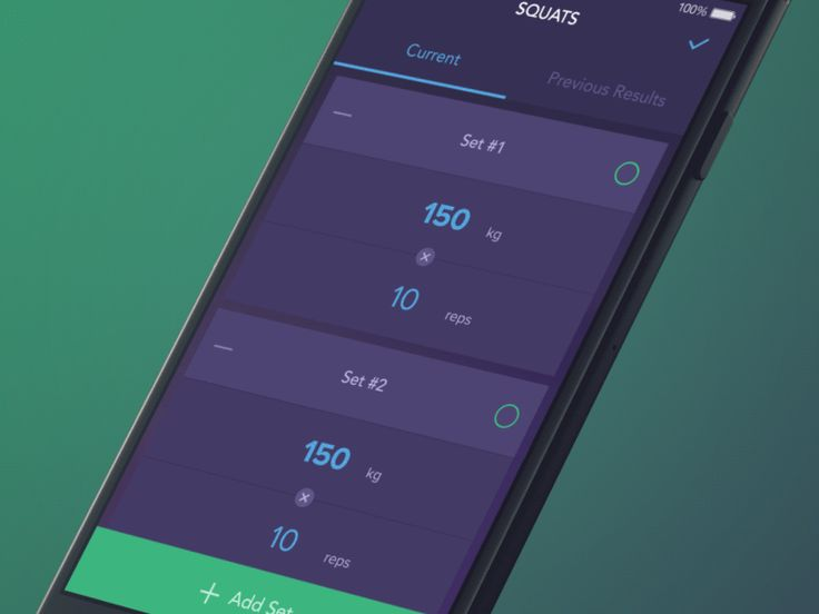 Exercise screen: Set Interaction by Vitaly Rubtsov for Yalantis