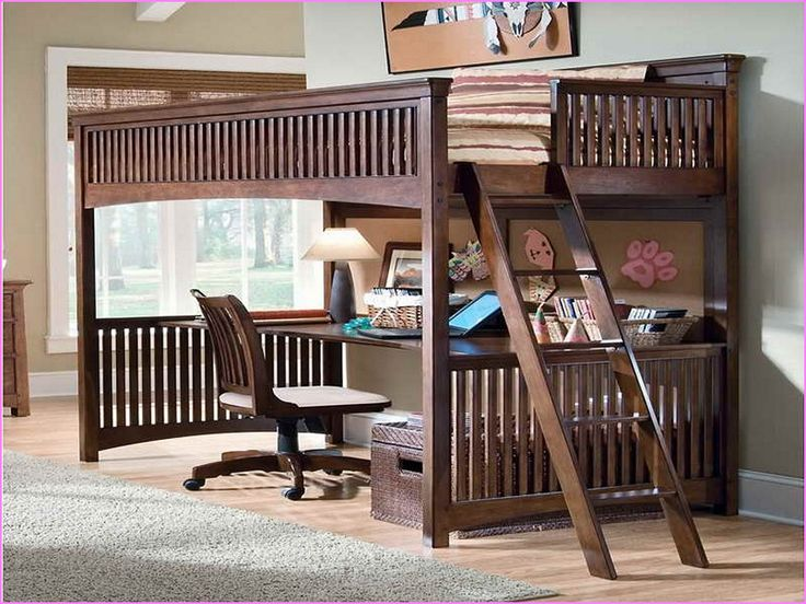 Queen Bunk Bed With Desk Underneath | Bedroom | Pinterest ...