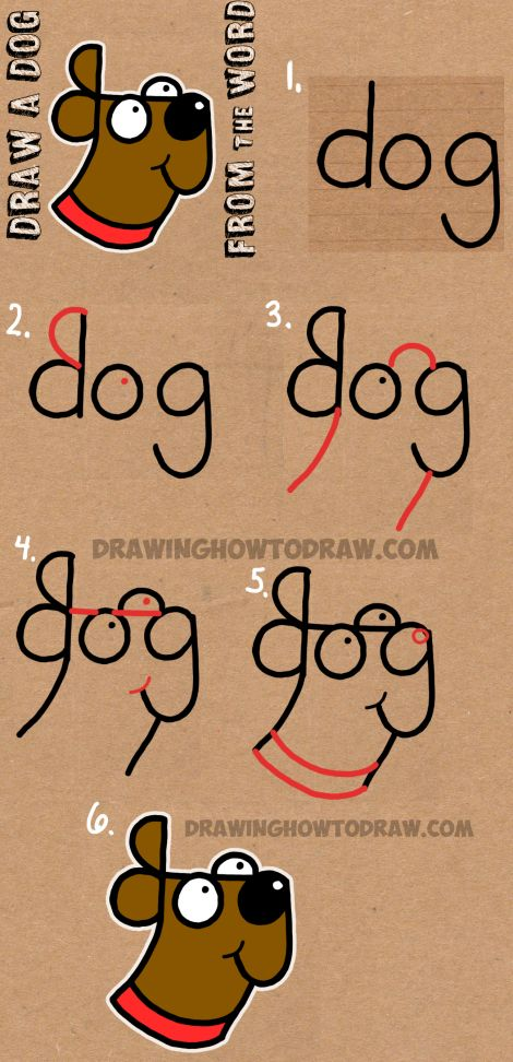 How to Draw a Dog from The Word Dog - Easy Step by Step Drawing Tutorial for Kids