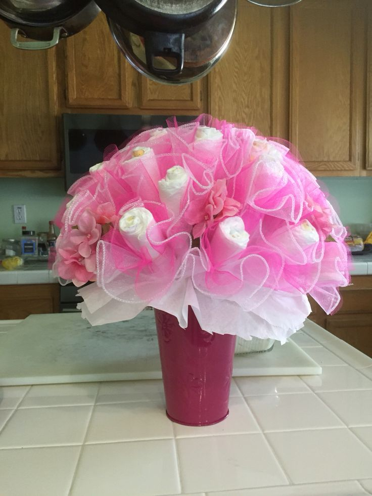 Pink diaper bouquet for Pink diaper bouquet