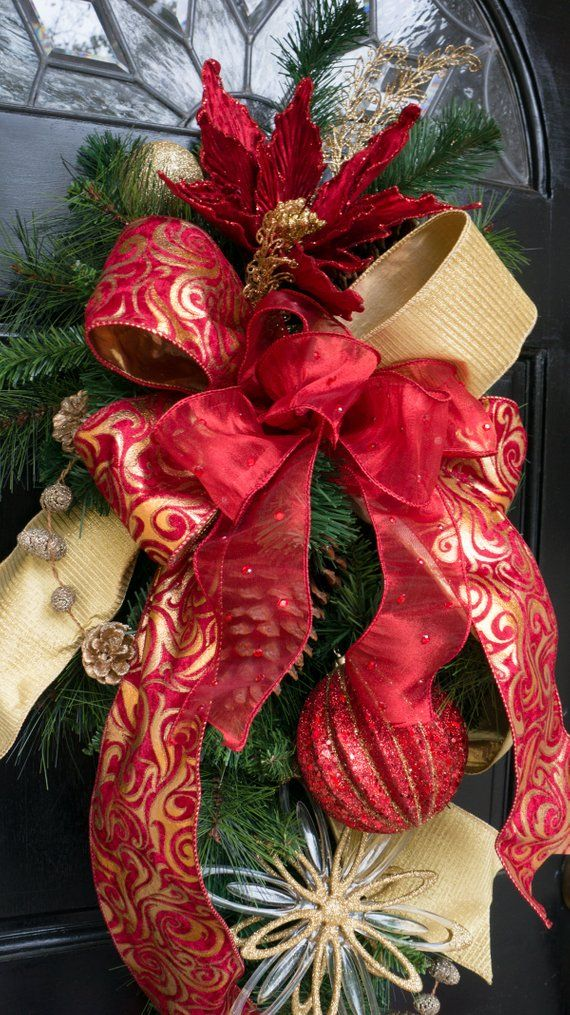 Red and Gold Christmas Front Door Swag Holiday Wreath Etsy