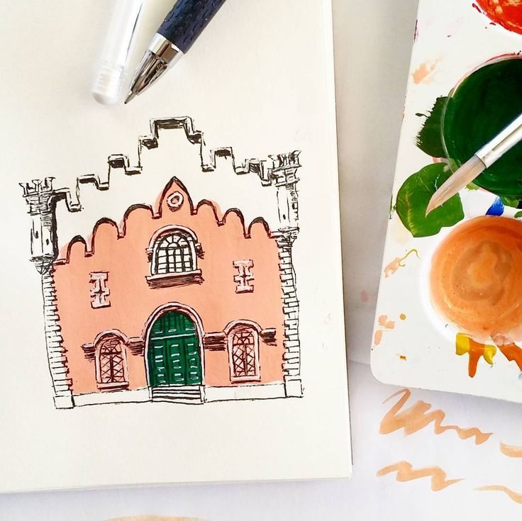 """5 Likes, 1 Comments - Ellie Jenkins (@paperfortdesigns) on Instagram: """"Wonky sketch from a photo of the Central Penitentiary in Lisbon, Portugal featured on…"""""""