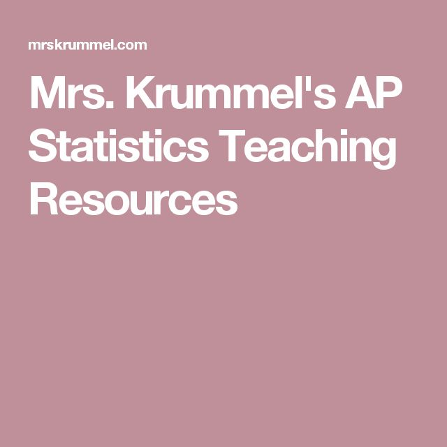 Mrs. Krummel's AP Statistics Teaching Resources