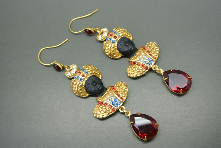Askew London blackamoor red glass gold-plated earrings