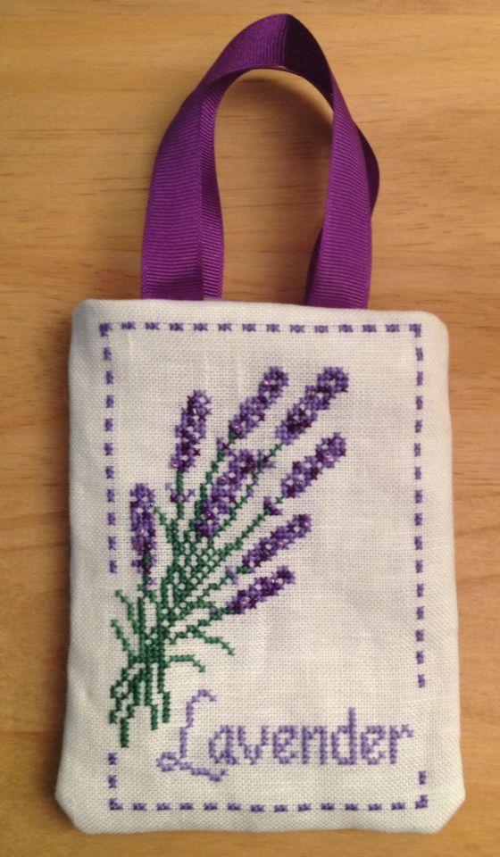 Lavender cross stitch gift bag