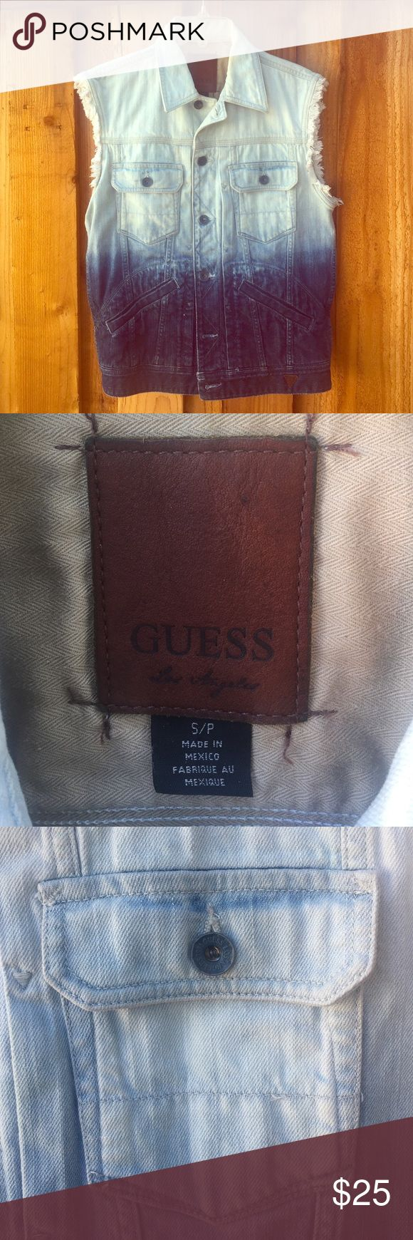 Distressed Guess Dip Dye Jean Vest The jean vest was worn a few times and is in great shape. It has a Dip Dye fade from light blue to a dark blue, around the collar it's alittle faded. The price isn't firm so feel free to send me an offer! Guess Jackets & Coats Vests