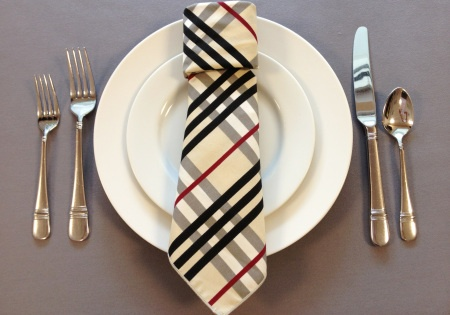 necktie napkin fold. Cute for Father's day dinner.