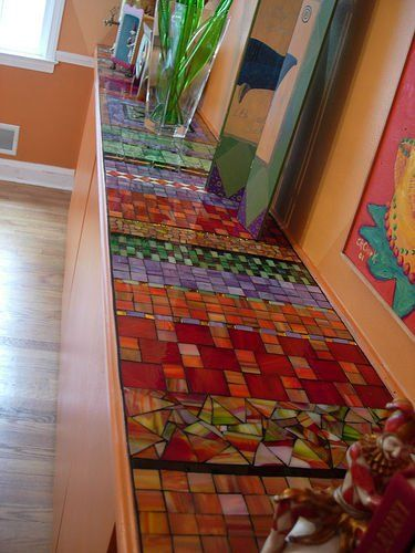 Stained glass mosaic counter