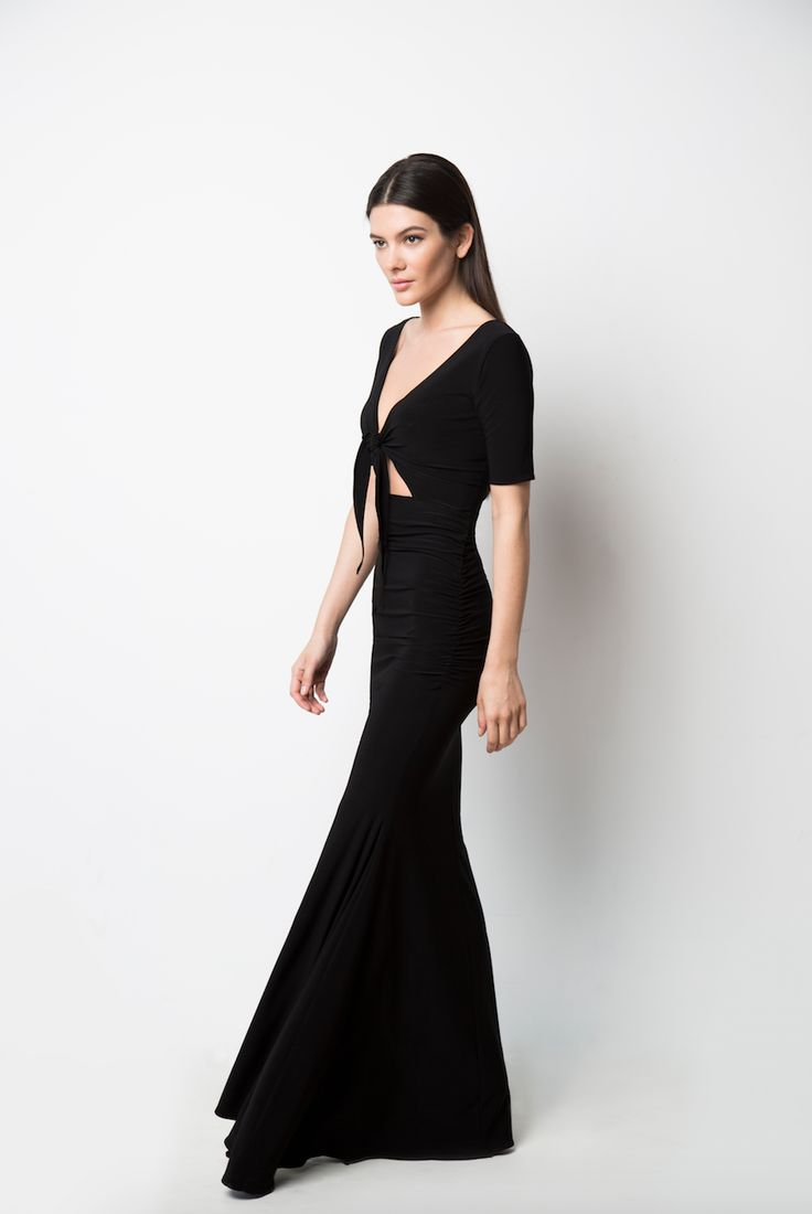 Sexy meets comfort in this Front-Tie gown in black!