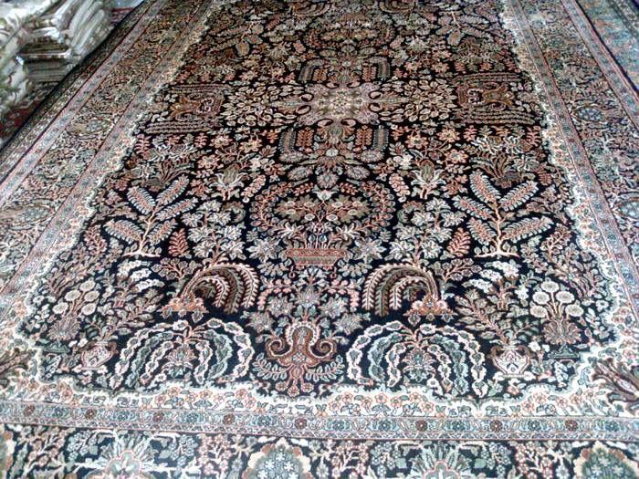 Kashmir Handmade Silk Carpet Size 7 X10 Design Barjastha Navy Blue 500 000 Knots Per Sq Mtr Price 7000 Ea Fob New Delhi India For Ordering Please