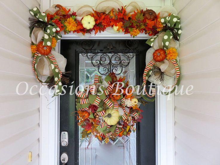 Fall Wreath with Garland, Fall decor, Wreath and garland set, Door Garland…