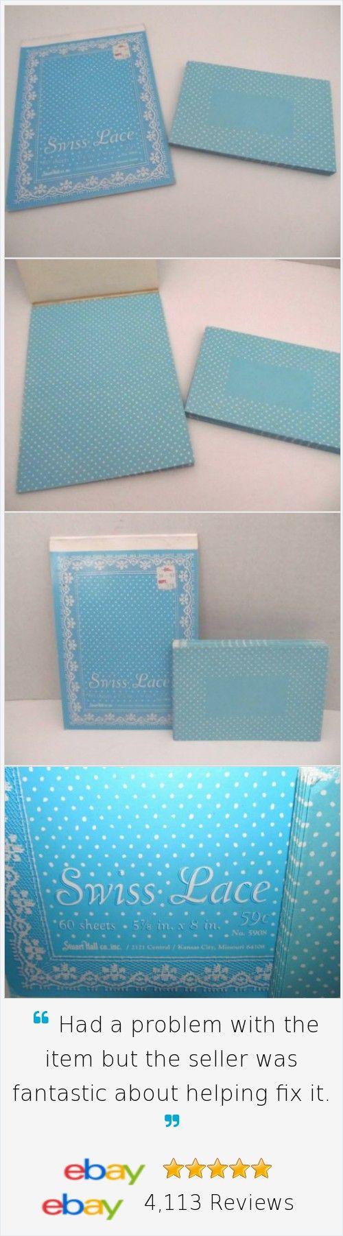 Vintage Stuart Hall Swiss Lace Stationery Set Tablet & Envelopes Pre Owned Blue