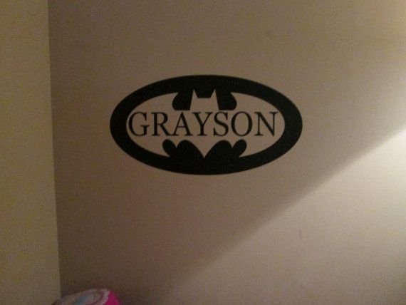 Batman synbol with Name cut out vinyl decal sticker by GaGaGallery, $13.00