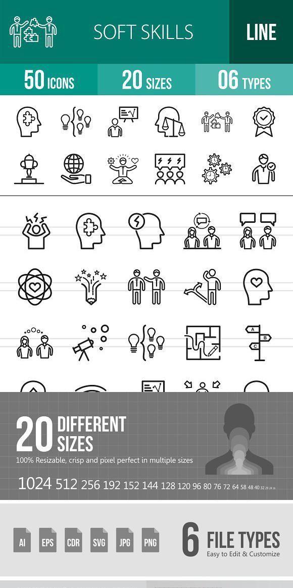 50 Soft Skills Line Icons Soft Skills Influencing Skills Stress Management Skills