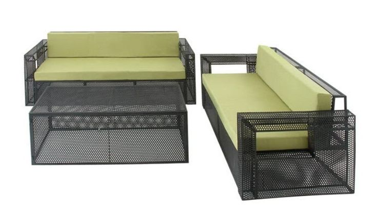 Chic Set Of Three Metal Fabric Outdoor Sofa.  The Right Fixture For Your Outdoor Space Is This Set Of Three Metal Sofa Set. For A Great Outdoor Setting, The Space Must Feature The Most Unique Furniture. Here Is One Such Set That Will Make Your Outdoor Look Outstanding And The Best From The Rest. The Set Comprises Of Two Sofas And One Rectangular Box Shaped Center Table. The Sofas And Table Give You The Illusion Of A Cage And Are Dye Din Black Hue. The Soft Cushions On The Sofa Ensure…