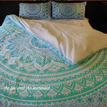 Green ombre mandala tapestry duvet cover by TheFoxAndTheMermaid