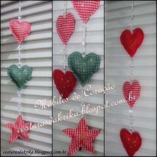 Móbile de corações para o Natal. Chistmas Decoration. http://costurasdakrika.blogspot.com.br