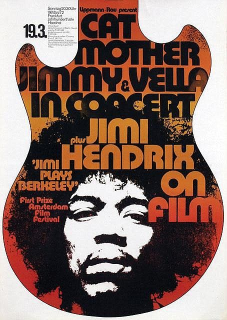 Günther Kieser, poster for concert plus Jimi Hendrix on film, 1972. Frankfurt, Lippmann + Rau, Germany