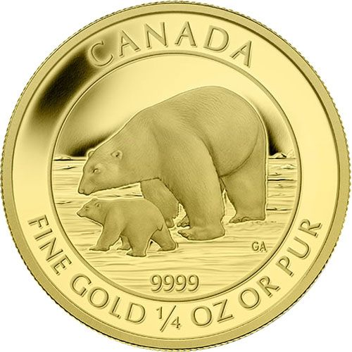 Buy 2015 1/4 oz $10 Canadian Gold Polar Bear and Cub Coin online. FREE Shipping on ALL Orders. Immediate Delivery.