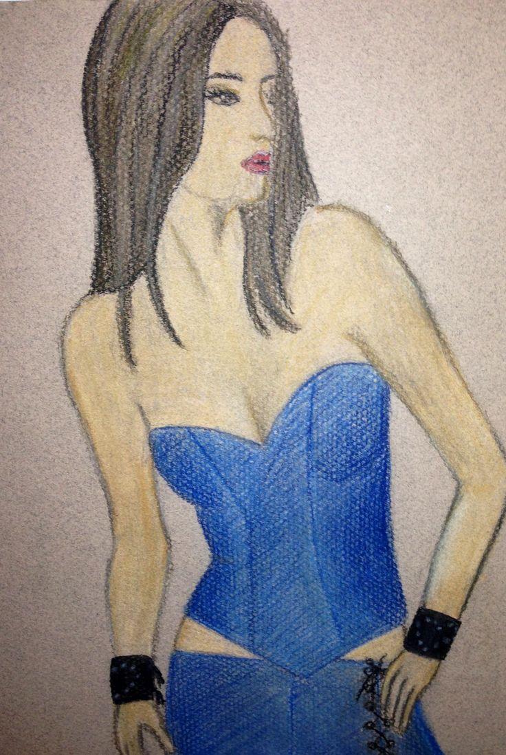 Modeteckning med akvarellpennor