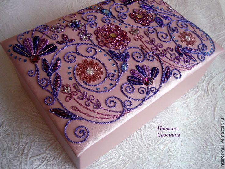 """Купить Кожаная шкатулка для украшений """"Цветочные фантазии-2"""" - розовый, шкатулка, шкатулка для украшений, подарок"""