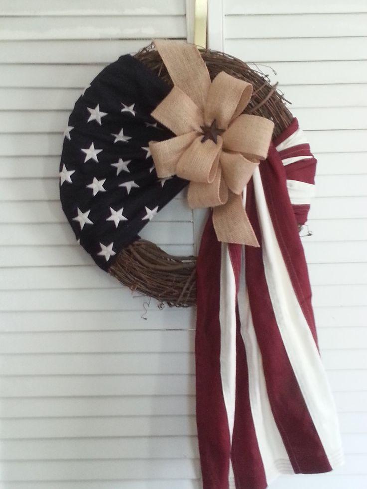 American flag wreath-Soldier wreath-Patriotic wreath-Front door wreath-Military wreath-Flag wreath (70.00 USD) by TinasDecoMeshWreaths
