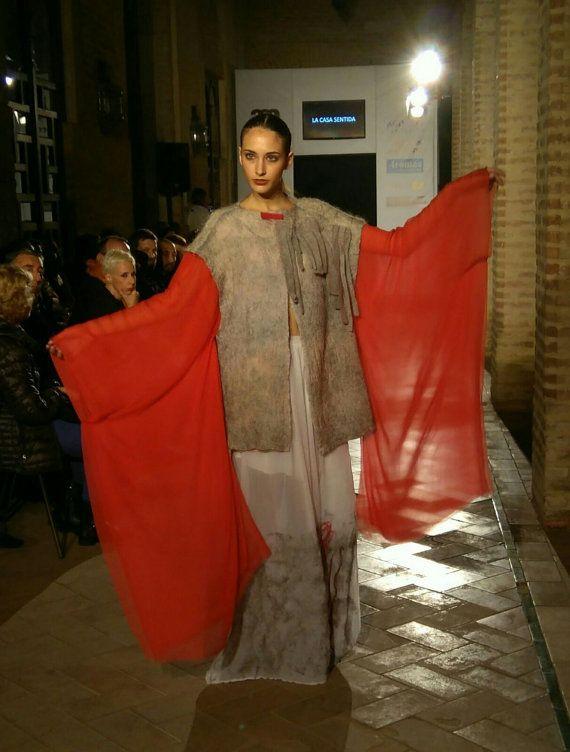 abrigo merino gris seda blanca envejecida y por lacasasentida