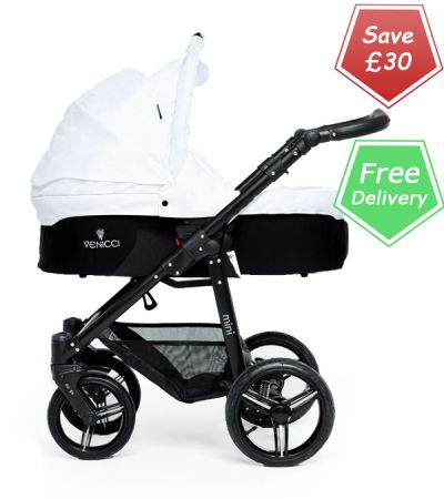 Buy Venicci baby Travel System White + carseat online at the best price. UK & ROI delivery. Payment plans available. Baby pram store in Belfast. http://www.kidsstore.co.uk/webshop/prams-buggies-car-seats/bebetto-venicci-prams/venicci-mini-white-baby-pram-car-seat-travel-system-black-frame/