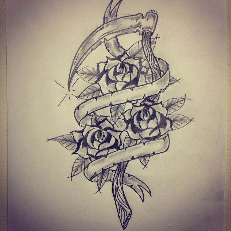Rose With Banner Tattoos: Traditional Sickle / Roses / Banner Tattoo Sketch By