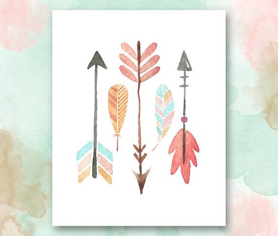 Arrows and Feathers Printable, Boho Chic Nursery Wall Art, Playroom Printable, Girls Room Printable, Pretty Plus Paper, Instant Download