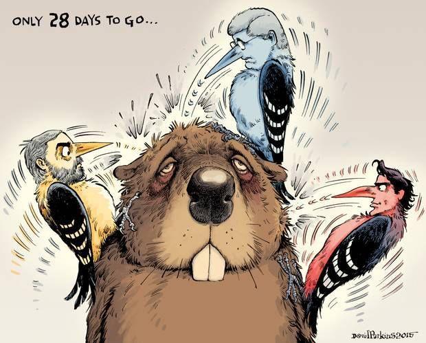 Four weeks to go..., a cartoon by David Parkins