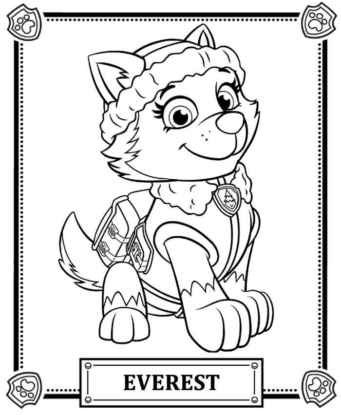 Cool Everest Paw Patrol Coloring Page Explore More Images To