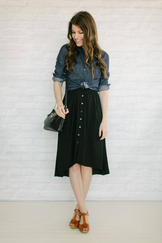 love this style and skirt - already own a similar button down!
