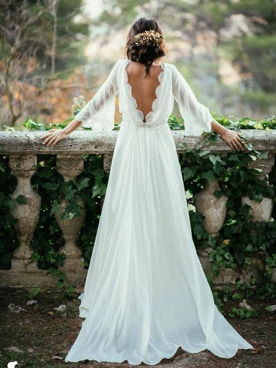 Cheap Wedding Dresses A-line Simple Ivory Appliques Chiffon Bridal Gown ,138 from Happybridal