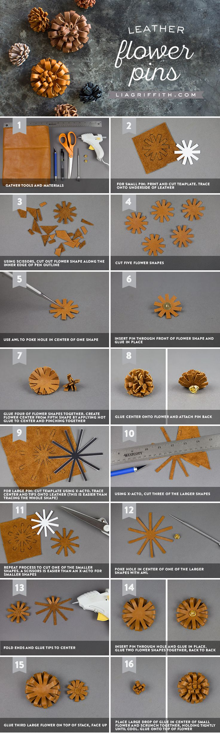 Leather #FlowerPins You can make this! Pattern at www.LiaGriffith.com