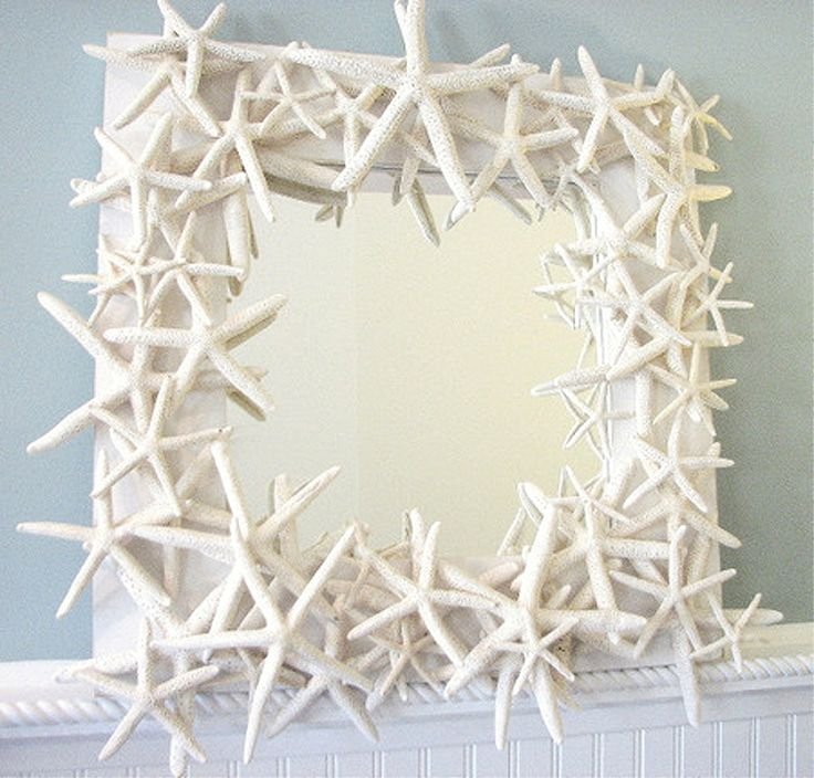 Sometimes more is just more...other times more translates into splendor -- like this mirror! What fun you and your girlfriends will have decorating mirrors for your homes.: Starfish Mirror, Shells, Beaches House, Crafts Idea, Beachhous, Frames Mirror, Bathroom, Sea Glasses, Beaches Cottages