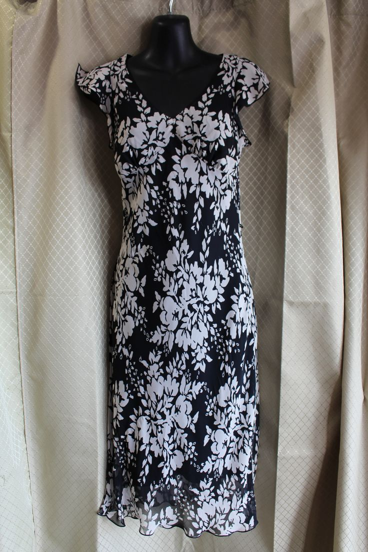 W.O.W Op Shop Black and white floral dress Pre loved and vintage