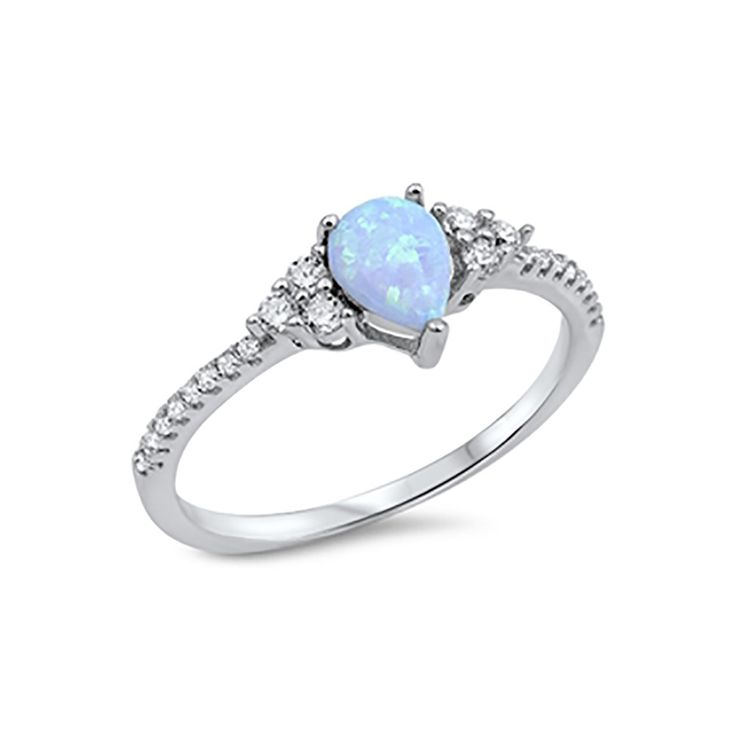 Teardrop Engagement Ring 925 Sterling Silver Round CZ Choose Color