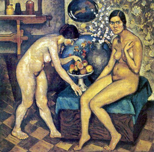 Nudes in the studio by Ilya Mashkov      Medium: oil on canvas