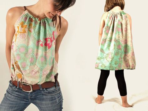 DIY-Anleitung: Damentop und Kinderkleid nähen / diy sewing tutorial for a pretty shirt via DaWanda.com