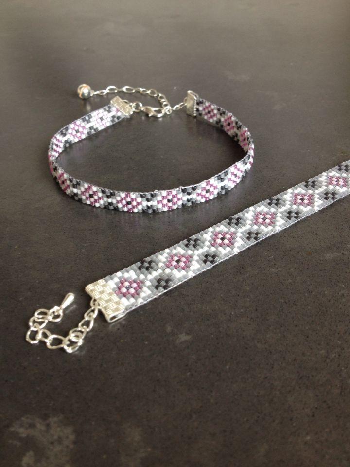 Geweven armband + enkelband
