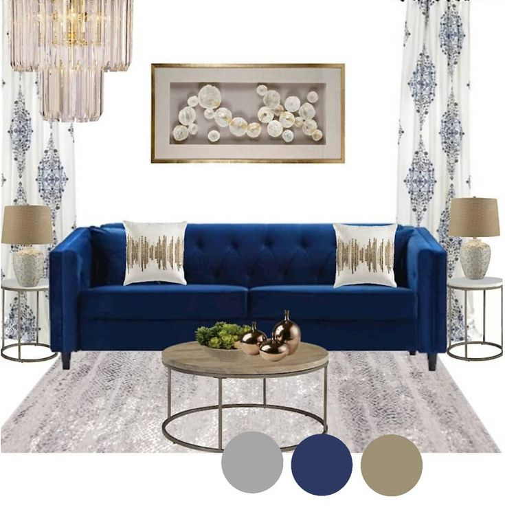 Blue sofa are so in trend right now. A color theme created ...