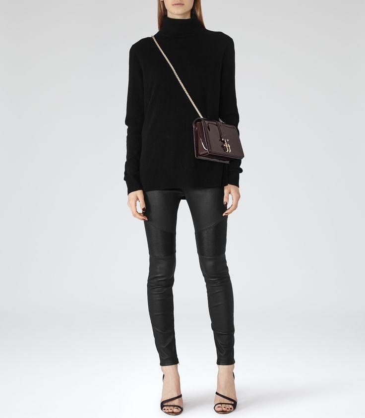 <3 these! Womens Black Leather Biker Leggings - Reiss Felice