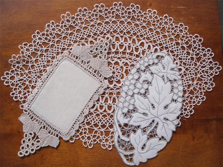 Description Three Authentic Vintage DOILIES 'Variety Plus'  Includes Tatting 44cms x 30cms Intricate Crochet 29cms x 12cms Cutwork 23cms x 12cms Stored over a long period of time and not used so I have *Washed *Starched *Ironed  to freshen up so comes to you ready to use.