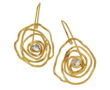Σκουλαρίκια σε ασήμι 925° επιχρυσωμένα Κρεμαστά σπείρα από σύρμα με Ζιργκόν #Earrings #silver #plated #Zircon #handmade #craftsmanship  #goldsmith #Thessaloniki #Greece 26627