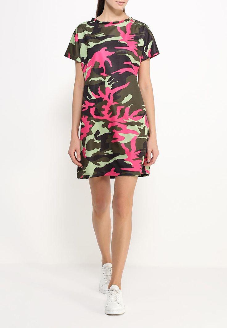 Зелёно-розовое камуфляжное короткое платье LuAnn http://fas.st/a_uex